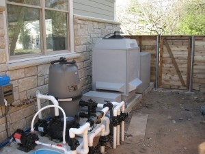 Pool geothermal with cooling tower